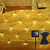 DreiWasser Solar Net Lights Garden, 1.5Mx1.5M 100 LEDs Mesh Fairy String Lights with Dark Green Cable 8 Modes Fence Icicle Li