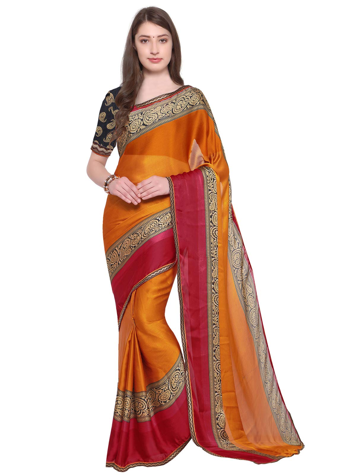 Kanchnar Yellow Color Chiffon Printed Saree(599S2033)