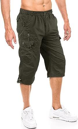TACVASEN Men's 100% Cotton Casual Military Elastic Capri Cargo Shorts with Multi Pockets