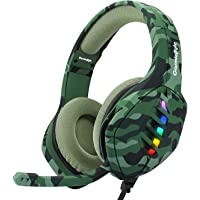 Cosmic Byte GS430 Gaming on-ear wired headphone 7 Color RGB LED with Microphone(Camo Green)