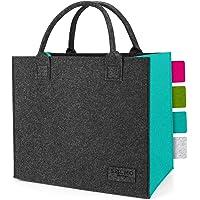sølmo I Filz-Tasche - 2 Farbig, Faltbar - Shopping-Bag I Große Einkaufstasche mit Henkel, Shopper Einkaufskorb
