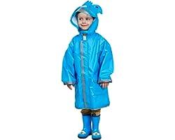 LIVACASA Chubasquero Chaqueta Lluvia Niño Impermeable Capa de Lluvia Grande Sombrero con Seguridad Advertencia Reflectantes V