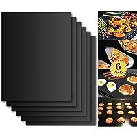 Tapis de Cuisson Barbecue, Set de 6 Feuille de Cuisson pour Barbecue et Four - 40*33 cm Anti-adhérent de BBQ et Feuilles…