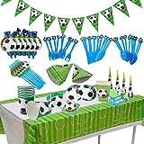 BETOY Fiesta de cumpleaños Fútbol 106PCS Vajilla Fiesta Fútbol Decoración Futbol Cumpleaños Conjunto de Suministros Mantel Pl