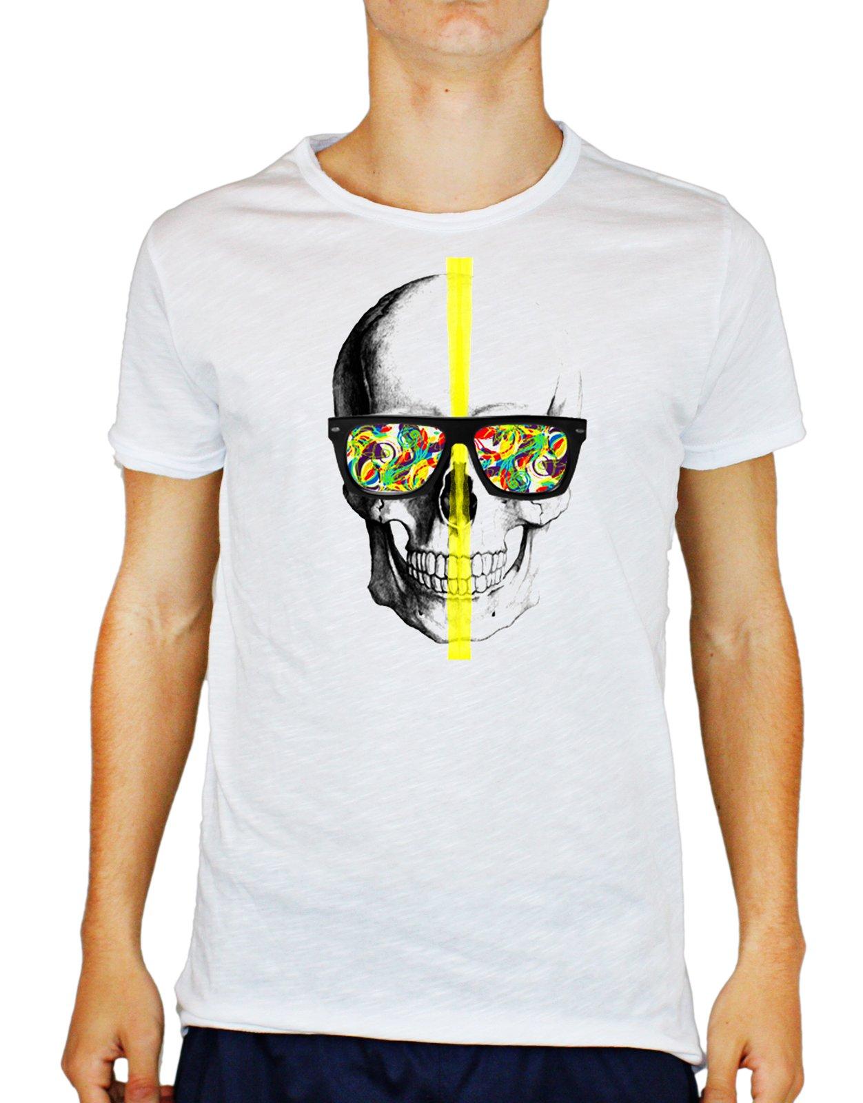 Tshirt uomo cotone fiammato skull glasses -colors - teschio - occhiali da sole - colori - Tutte le t