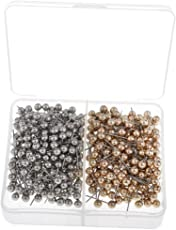 MagiDeal 400 Pieces Marking Push Pins Silver & Gold Metallic Color Beads Head for for Photos, Maps,Cork Boards Homemade Crafts