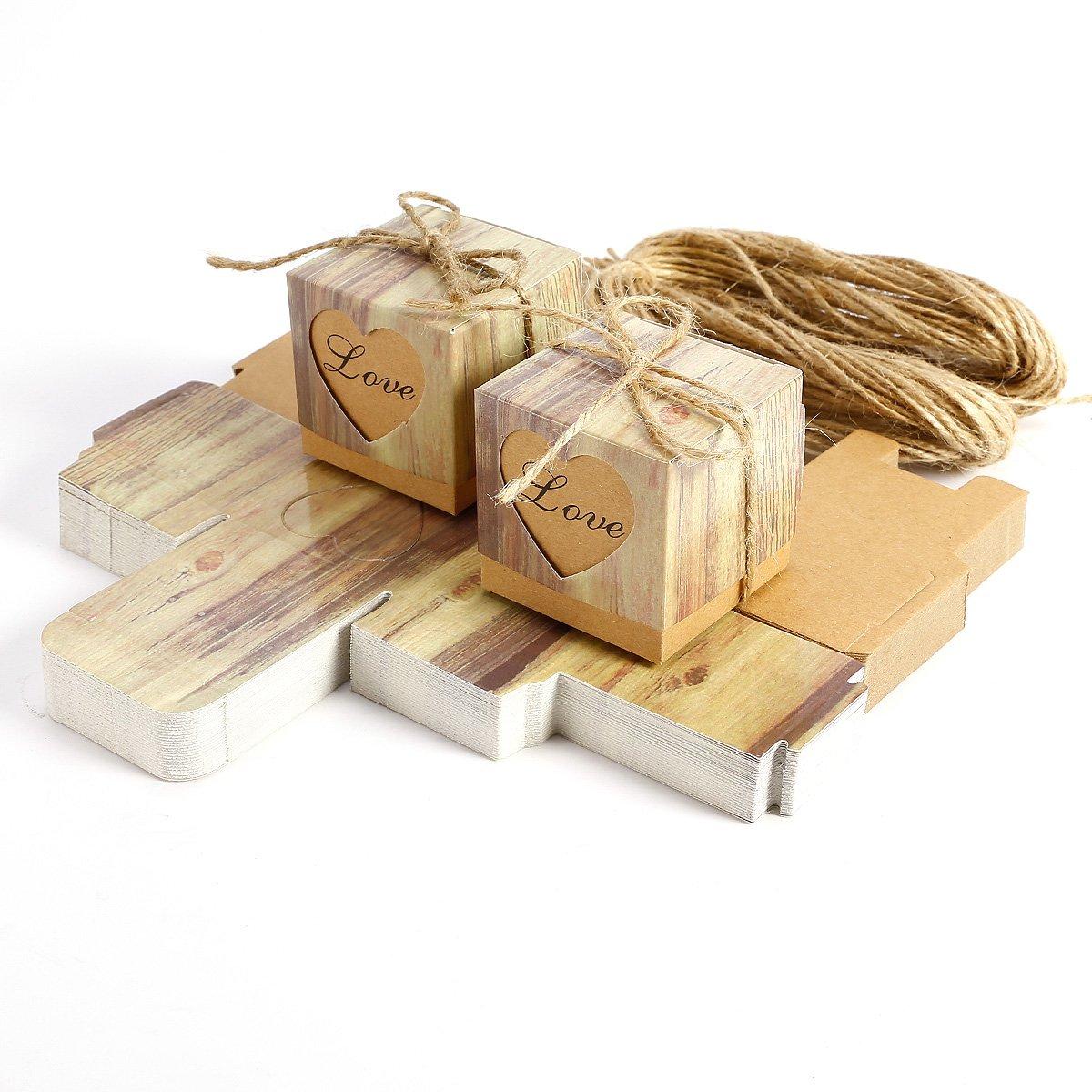 50PCS Heart Love rustico Sweet laser Cut confetti, caramelle scatole regalo