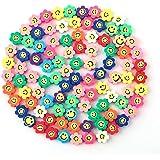 SAVITA 100 Stks Spacer Kralen Polymeer Bloem Smiley Kralen Kleurrijke Kralen Voor Armbanden, Kettingen, Sieraden Maken (Wille