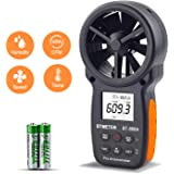 AOPUTTRIVER Digitales Anemometer Handheld CFM Messgerät mit USB Anschluss Windgeschwindigkeitsmessgerät Misst mit Datenhaltung und Relativer Luftfeuchtigkeit