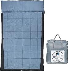 10T Doppel-Schlafsack ZALI DUO -19° 2 Personen XXXL Deckenschlafsack 230x150 Blau / Grau 350g/m²