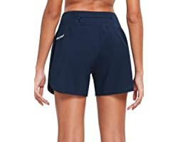 BALEAF Womens 5 Inches 2 in 1 Running Shorts with Liner Lounge Gym Walking Lined Shorts Back Zipper Pocket