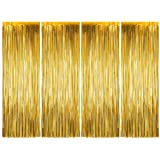 Party Propz Golden Foil Curtain Pack of 4 for Birthday, Anniversaries, Graduation, Retirement, Baby Shower Décor