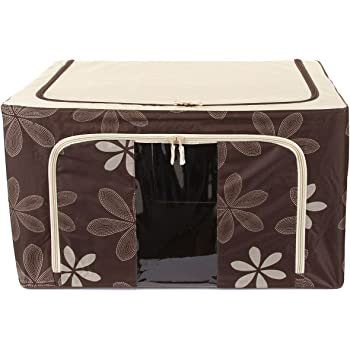 Uberlyfe Brown Flower Foldable Cloth Storage Box with Steel Frames Color Brown - UW-000194-BCS66L