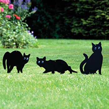Asab 3x Black Cat Silhouette For Garden Cats Scarer With