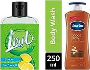 Liril Lemon and Tea Tree Oil Body Wash, 250 ml & Vaseline Intensive Care Cocoa Glow Body Lotion, 400 ml