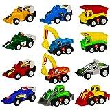 Miniature Véhicule Plastique Voiture de Courses Friction Jouets Cadeau Pour Enfants 12 Pièces