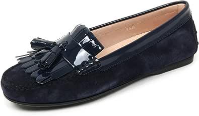 Tod's B9582 Mocassino Donna Scarpa Frangia Nappine Blu Scuro Loafer Shoe Woman