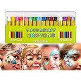Natale Matite Trucco, Mimoo 16 Colori del Corpo del Viso Body Painting kit per Bambini Sicuro e per Colorazioni Perfetto…