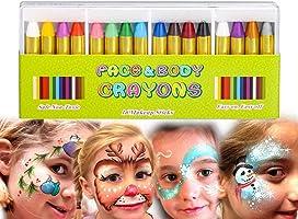MiMoo Pintura Facial Ninos, 16 Colores Halloween Niño Kit Pintura Lápices de Colores, Pintura Corporal no Tóxica Lápices de Colores para Niños, Niños Pequeños