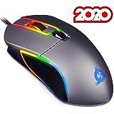 KLIM Aim Mouse da Gaming Chroma RGB USB - Regolabile da 500 a 7000 DPI - Pulsanti Programmabili - Comfort per Mani di Ogni Dimensione - Presa Eccellente per Ambidestri - Gamer Videogiochi PC PS4 Gray