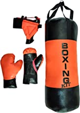 Byson Filled Punching Bag for (5 to 12) Years Old boy with Boxing Gloves and Head gurad (Colour and Design May Vary)