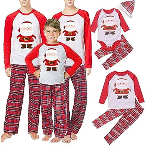 SAMGU Pigiama Famiglia Natale Set Pigiama di Capodanno Indumenti da Notte Abiti Natalizi Tuta per papà Mamma Bambini