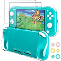 Case for Nintendo Switch Lite, Clear Grip Cover with 2 Pack Screen Protector and 6 Pcs Thumb Grips Caps - Soft Silicone…