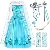 ReliBeauty Disfraz de niña Disfraz de Copo de Nieve de Lentejuelas Plisadas de Manga Larga Frozen Princess Elsa