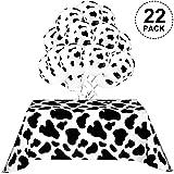 Mantel de Vaca para Fiesta, Incluye 2 Piezas Cubiertas de Mesa, 20 Piezas Globos de Vaca y 10 m Cinta Blanca Suministros de P