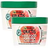 2x Garnier Fructis Maschera Per Capelli Hair Food Rivitalizzante 3in1 All'Anguria - 2 Barattoli da 390ml