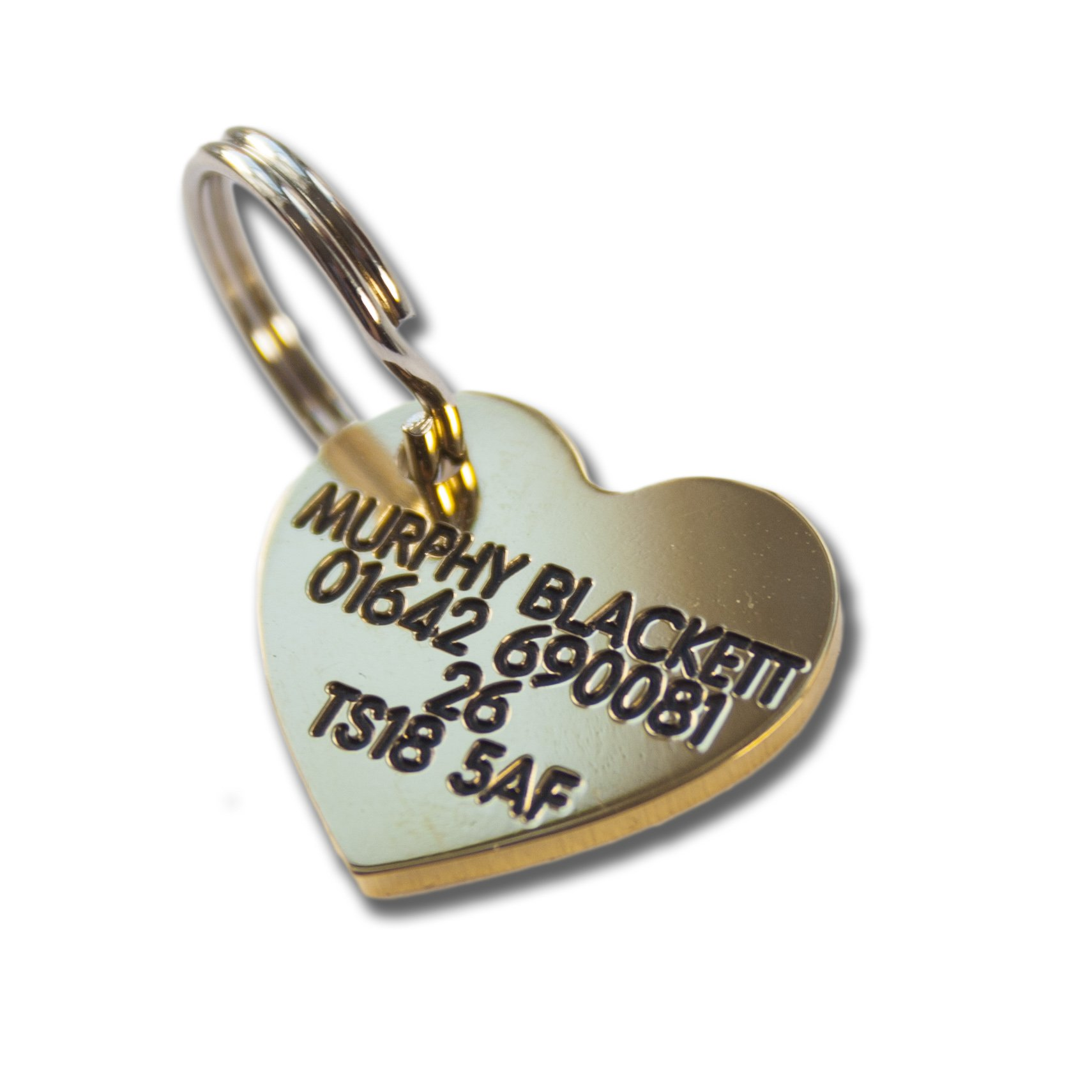 Deeply engraved solid brass 22mm heart shaped dog tag