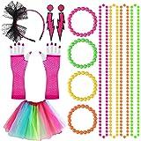 80s Accesorios de Traje de Vestido Mujer y la Niña, Retro Fiesta con Vestido de Color del Arco Iris Neón Collares Encaje Aros