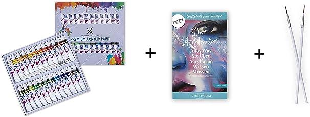 TK Hyper Art Premium Acrylfarben Set - inklusive Zwei Pinsel und E-Book - hochwertige Acryl-Farbe mit 24 einzigartigen Farbkreationen - Nicht toxisch - Für Kinder und Erwachsene, Anfänger und Profis