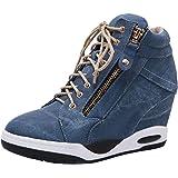 rismart Donna High Top Zeppa Nascosto Sneaker Casual Confortevole Cuscino Caviglia Stivali
