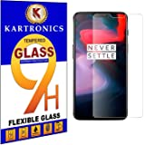 Kartronics Compatible with OnePlus 6 Premium Tempered Glass Screen Protector Slim 9H Hard 2.5D with Full Installation Kit and