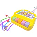 Popsugar 2 in 1 Xylophone and Piano Toy with Colorful Keys for Toddlers and Kids, Yellow