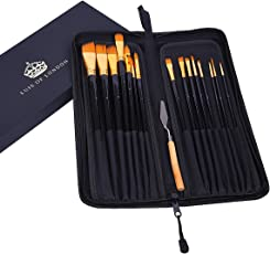 Luis of London No Shed Bristles Wood Handle Artist Paint Brush of 15 Different Shapes Sizes with Painting Knife and Glossy Matte Laminated Gift Box
