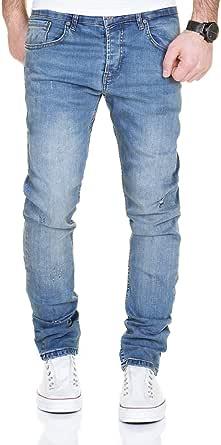 MERISH Jeans Uomo 5-Pocket Stile,StraightFit, Gamba a Tubo, Distrutto-Wash, patchato, Contrasto Decorative Modello, Elaborazione Altamente Dettagliato J2081