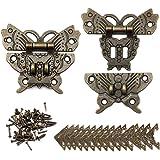 Dylan-EU 2 Set Vintage Lock Butterfly Latch Hasp Vintage Design Legering Klink Retro Vlinder Vormige Decoratieve Klink Hasp P
