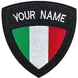 Toppa Tattica Militare Personalizzata con Nome, Etichetta Personalizzata con Ricamo, Toppa con Nome Bandiera Italiana su/Ganc