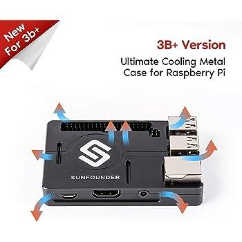 SUNFOUNDER Raspberry Pi Case Aluminum Alloy Raspberry Pi 3, 2, B+ Enclosure Metal Case with Heat Dissipation Silica Pad (MEHRWEG)