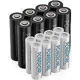AA AAA oplaadbare batterijen POWEROWL, voorgeladen hoge capaciteit 2800 mAh en 1000 mAh 1,2 V NiMH-batterij Lage zelfontladin
