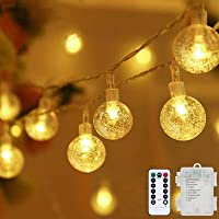 Globe String Lights Fairy Lights Battery Operated 16.4ft 50LED String Lights with Remote Waterproof Indoor Outdoor…