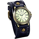 Jewelrywe orologio da polso donne cinturino in pelle retr¨° stile vintage bronzo romano motivo cifra per l'estate