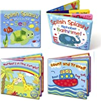 Set of 4 Baby Bath Books | First Words ABC Letters & Numbers | Plastic Coated & Padded | Floating Fun Educational…