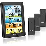 Touloube 2021 Draadloos weerstation met 3 buitensensoren en kleurendisplay, indoor outdoor thermometer hygrometer met weersvo