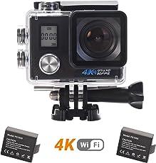 LTM 4K Action Kamera WIFI Unterwasserkamera Sport Cam 16MP Full HD 1080P Wasserdicht 30M Dual-Screen Helmkamera mit 2 Akkus und Zubehör Kits