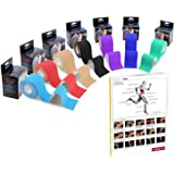 Zoegate Kinesiologie Tape, Sporttape Kinesiotape Physio Muskeln Tape Tapeverband Elastische Bandage + Step Guide