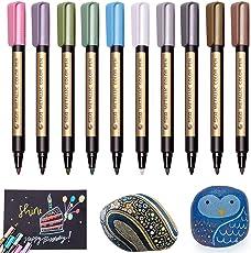 Metallic Marker Pens, Beupro 10 Stück Metallic Marker Stifte für Kartenherstellung DIY Fotoalbum Gästebuch Gebrauch auf irgendeiner Oberfläche-Papier Glas Kunststoff Keramik Töpfer