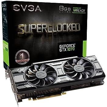 EVGA GeForce GTX 1070 SC GAMING ACX 3.0 Black Edition, 8GB GDDR5, LED, DX12 OSD Supporto (PXOC) 08G-P4-5173-KR